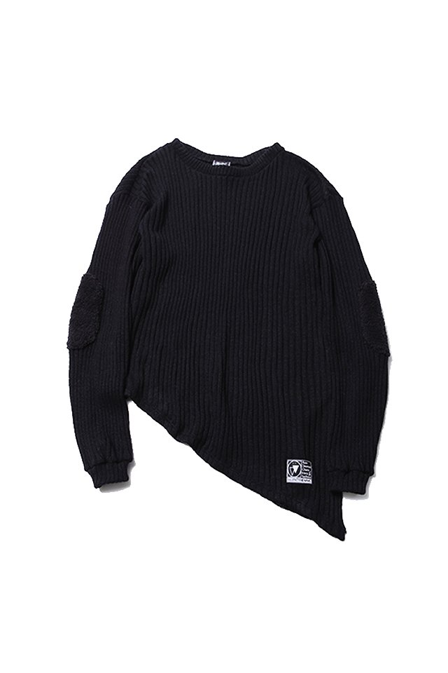 SILLENT FROM ME - GHOST -Asymmetry Knit Sweater- (BLACK)「サイレントフロムミー」[ニット]