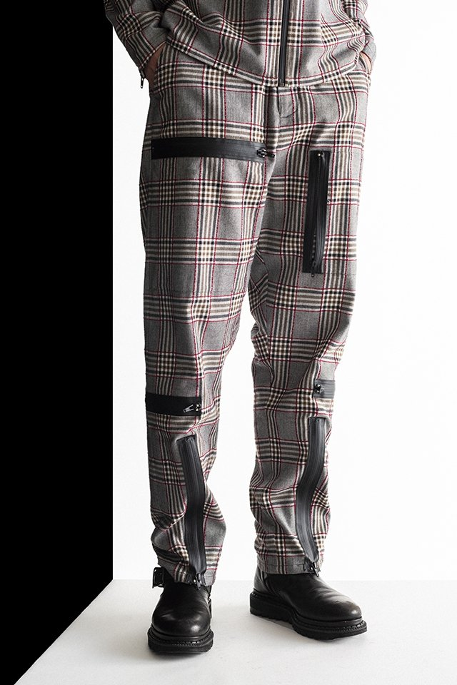MUZE - PLAID PARACHUTE PANTS(RED×GRAY)「ミューズ」[パンツ]