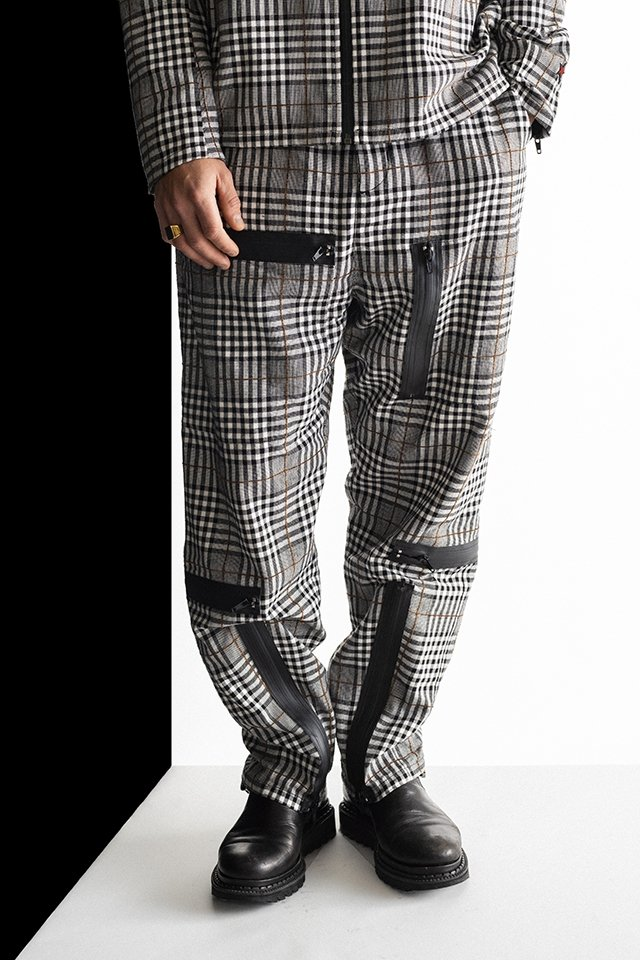 MUZE - PLAID PARACHUTE PANTS(BLACK×GRAY)「ミューズ」[パンツ]