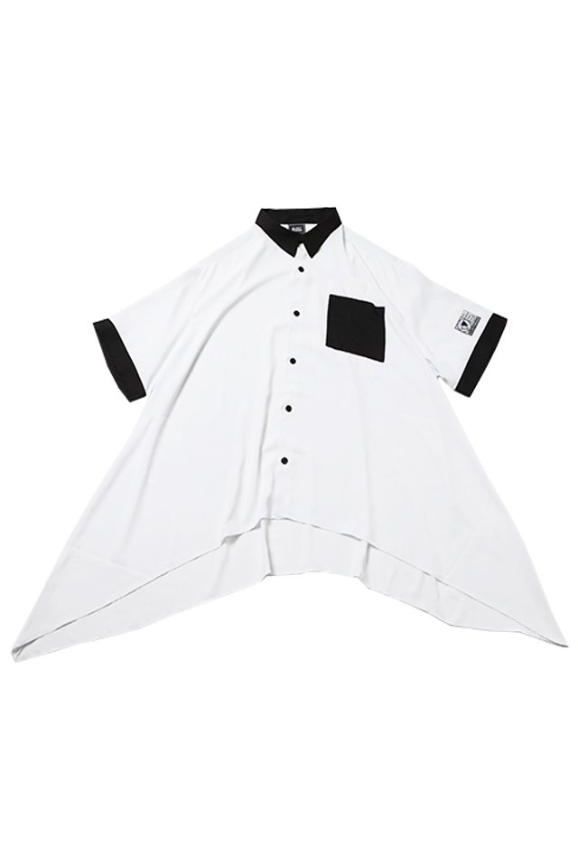 SILLENT FROM ME - LAX -Hemline Half Sleeve Shirts- (WHITE)「サイレントフロムミー」[シャツ]