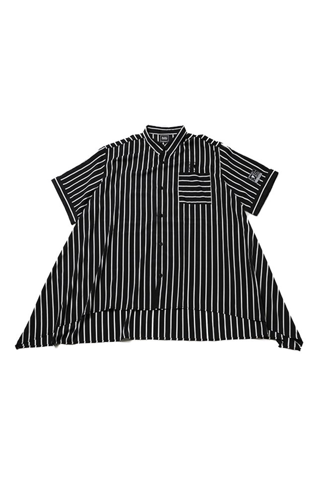 SILLENT FROM ME - LAX -Hemline Half Sleeve Shirts- (BLACK STRIPE)「サイレントフロムミー」[シャツ]