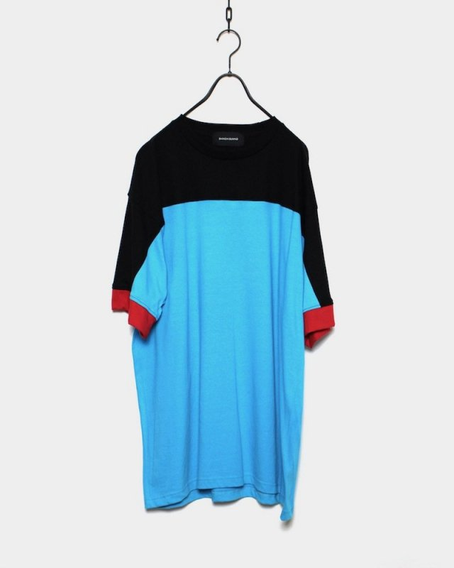 SHINICHI SUMINO - MULTICOLOR TEE(BLACK×TURQUOISE)