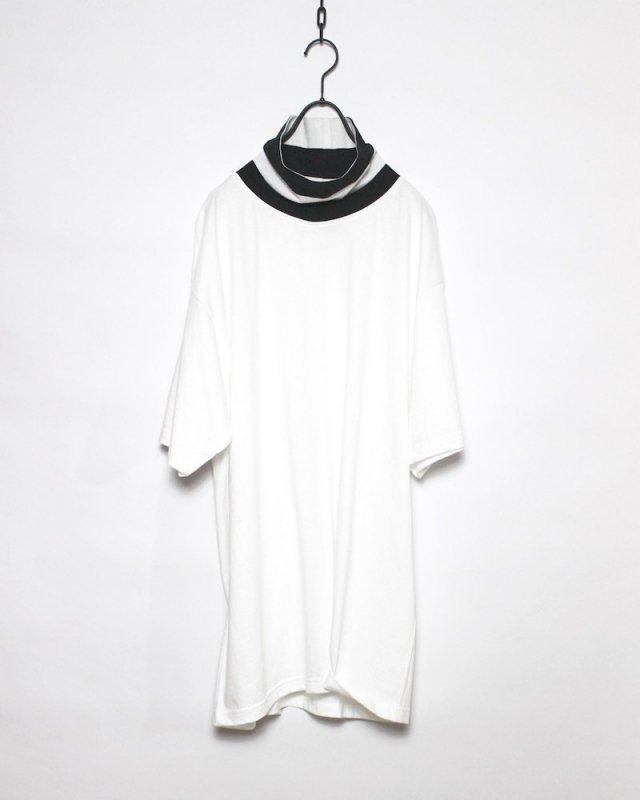 SHINICHI SUMINO - STRIPE HIGH NECK TEE(WHITE×BLACK)