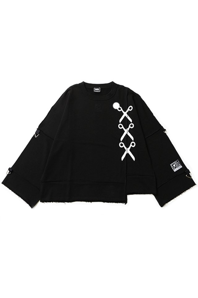 SILLENT FROM ME - SHEARS -Deformed Crew Sweat-(BLACK)