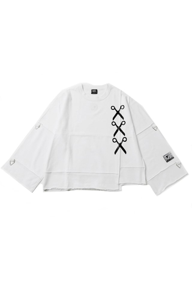 SILLENT FROM ME - SHEARS -Deformed Crew Sweat-(WHITE)