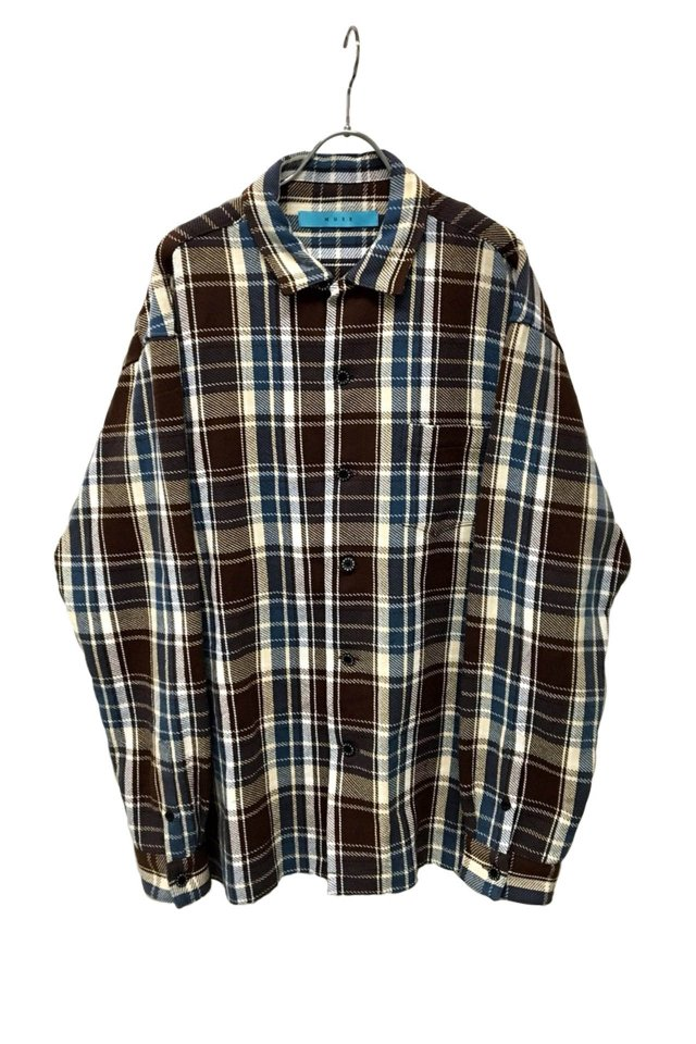MUZE - Cotton twill check Oversized Shirt (BLUE×BROWN)