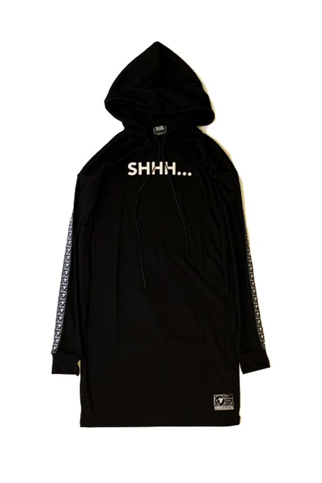 SILLENT FROM ME - SHHH -Long Length Parka(BLACK)