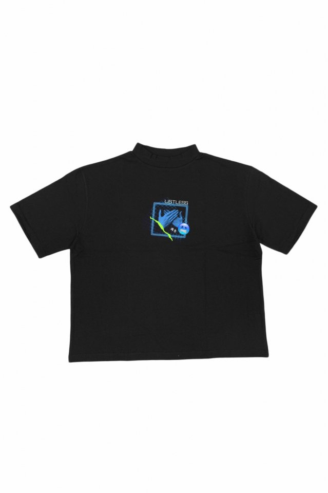 LISTLESS - MOCK NECK TEE『再生2.0』(BLACK)