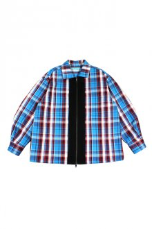 MUZE TURQUOISE LABEL - FLANNEL CHECK ZIP BLOUSON(TURQUOISE)