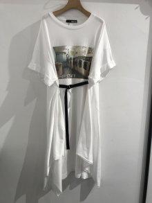 PHOTO PRINT T-shirt ONEPIECE (WHITE)