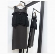 LAYERFD RIB ONEPIECE (CHACOAL/BLK)