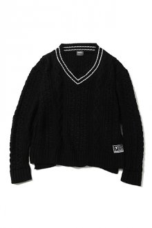 SILLENT FROM ME - VEIN - Cable Knit Sweater -(BLACK)