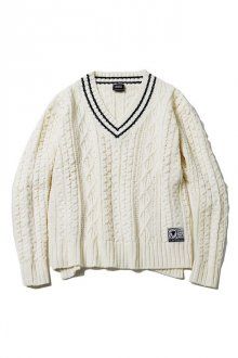 SILLENT FROM ME - VEIN - Cable Knit Sweater -(WHITE)