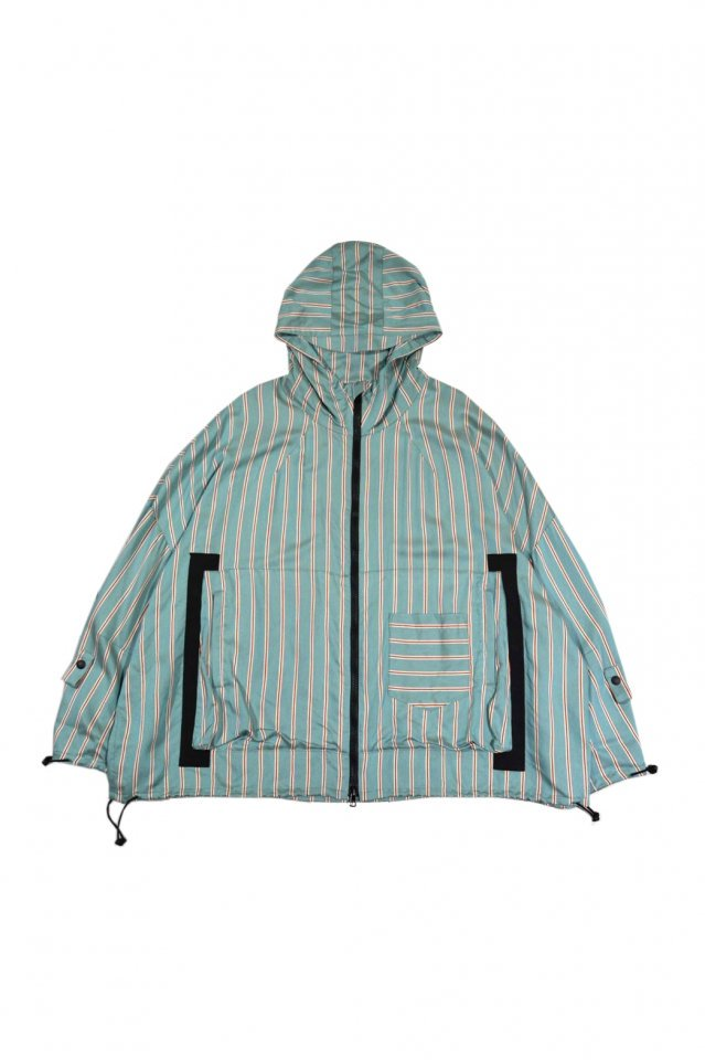 MUZE TURQUOISE LABEL - WIDE HOODED STRIPE BLOUSON(TURQUOISE×RED)