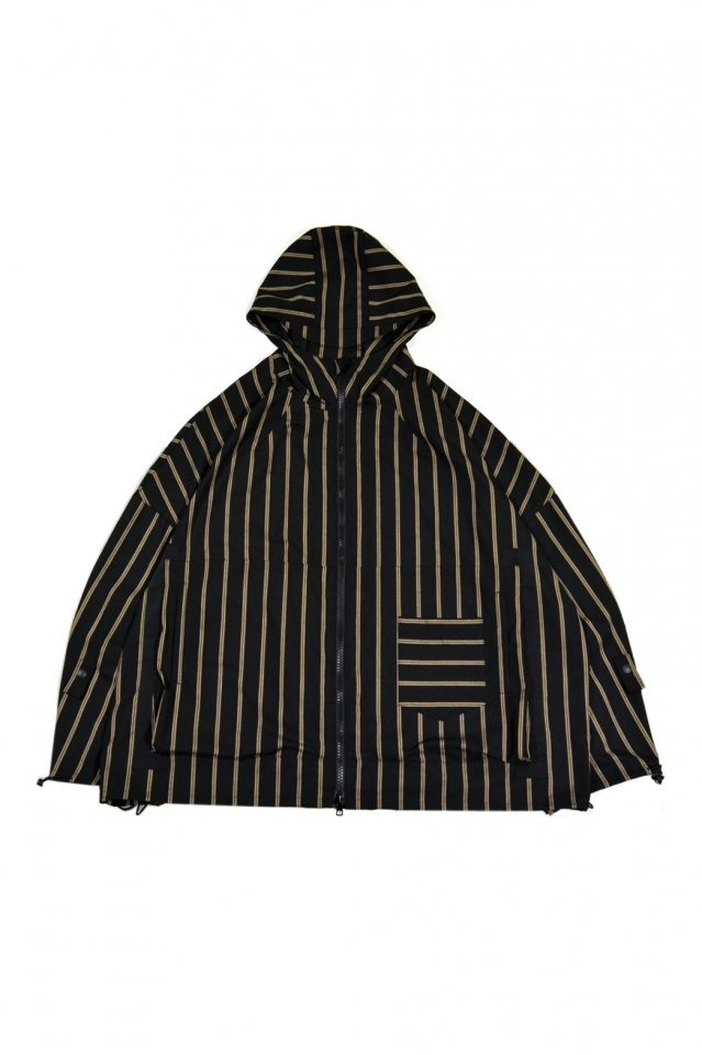 MUZE TURQUOISE LABEL - WIDE HOODED STRIPE BLOUSON(BLACK)