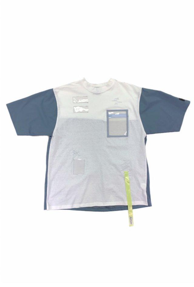 LISTLESS - #1 LISTLESS Switching T-shirt(BlueGray×White)(Yellow Tape)