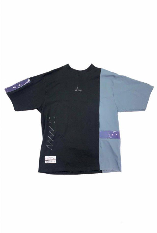 LISTLESS - #1 LISTLESS Switching T-shirt(BlueGray×Black)(Lavender Tape)
