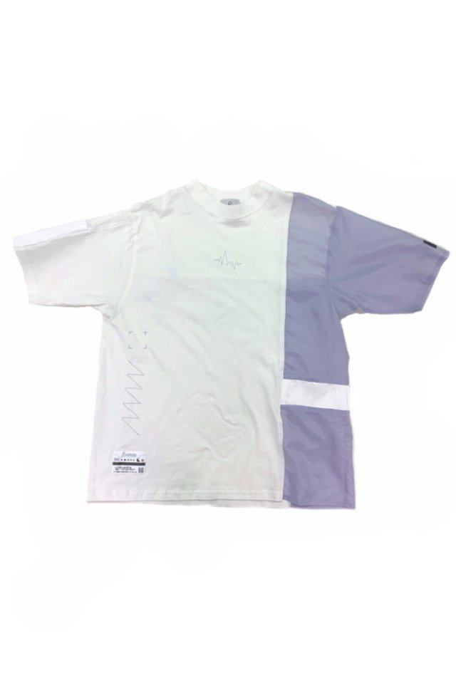 LISTLESS - #1 LISTLESS Switching T-shirt(Lavender×White)(Yellow Tape)