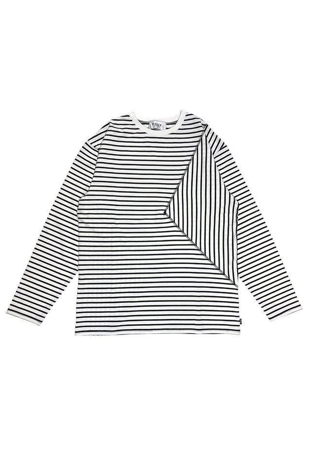 【30%OFF】PRDX PARADOX TOKYO - SHIFTED BORDER L/S T-SHIRTS(WHITE-BLACK)