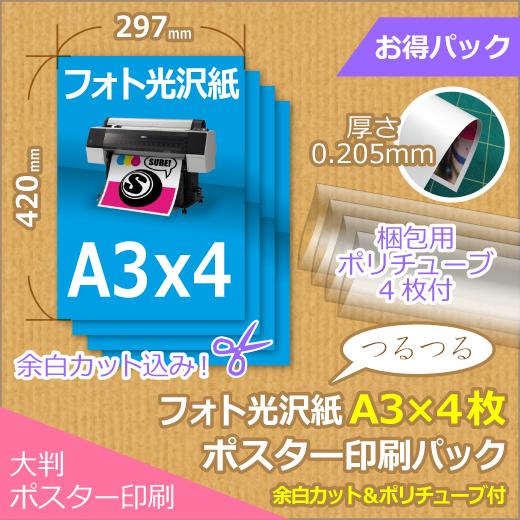 光沢紙A3×4枚パック (297x420mm以下)<img class='new_mark_img2' src='https://img.shop-pro.jp/img/new/icons16.gif' style='border:none;display:inline;margin:0px;padding:0px;width:auto;' />