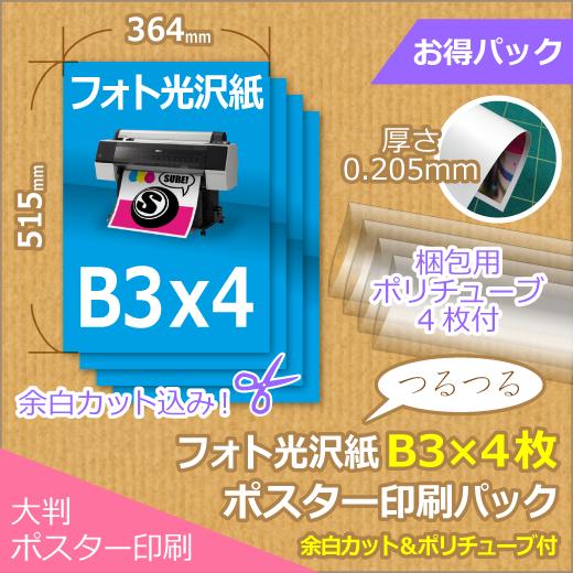 光沢紙B3×4枚パック (364x515mm以下)<img class='new_mark_img2' src='https://img.shop-pro.jp/img/new/icons16.gif' style='border:none;display:inline;margin:0px;padding:0px;width:auto;' />