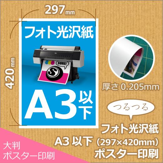 光沢紙A3以下ポスター印刷 (297x420mm以下)