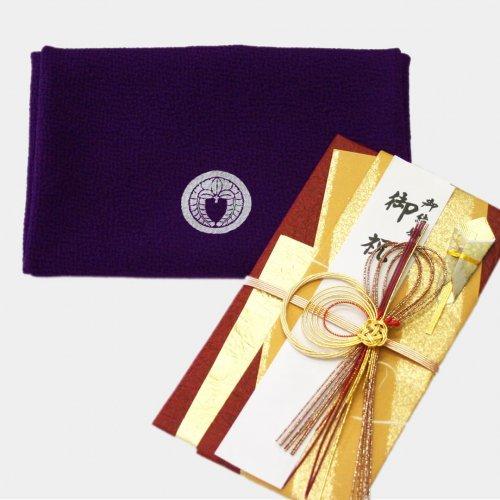 丹後ちりめん 袱紗 染め抜き 中巾(45cm)家紋・名入れ(御誂え)