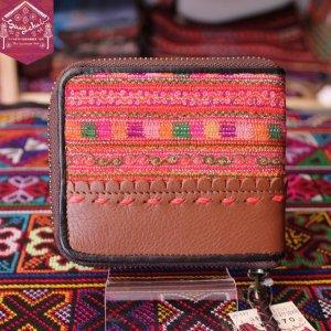 モン族刺繍と牛革のニつ折り財布