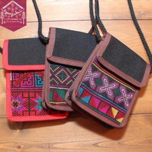 アカ族クロスステッチ刺繍ミニポシェット