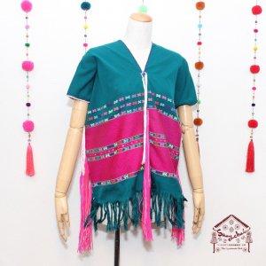 カレン族刺繍織り貫頭衣トップス(グリーン)