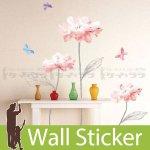 ウォールステッカー [3匹の蝶とピンク花]-(kr-0020)