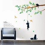 ウォールステッカー [木で遊んでいる猫]-(kr-0043)