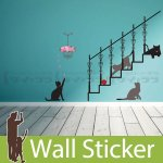 ウォールステッカー [階段で遊ぶ猫]-(kr-0095)
