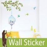 ウォールステッカー [木と鳥かご]-(lwstl-004)
