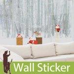 クリスマス飾り用のウォールステッカー [煙突に登るサンタクロース]-(psc-61011)