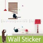 ウォールステッカー [猫とブラインド]-(ss-58233)