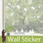 クリスマス飾り用のウォールステッカー [雪の結晶と天使たち]-(swst-064)