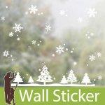 クリスマス飾り用のウォールステッカー [クリスマスツリーと雪の結晶]-(swst-065)