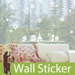 クリスマス飾り用のウォールステッカー [雪が降る街]-(swst-066)