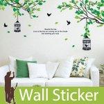 ウォールステッカー [みどり木と鳥かご]-(wch-006)