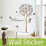 ウォールステッカー [茶色木と鳥かご]-(wch-007) y1