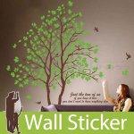 ウォールステッカー [緑木と鳥] 2枚セット-(wch-021)