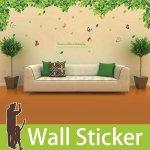 ウォールステッカー [木の葉と蝶] 2枚セット-(wch-029)