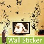 ウォールステッカー [花柄・蝶B]-(wch-038)