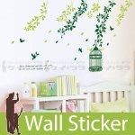 ウォールステッカー [緑の鳥かごと木]-(wch-049)