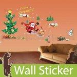 クリスマス飾り用のウォールステッカー [クリスマスツリーとサンタクロース]-(wch-084)