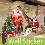 クリスマス飾り用のウォールステッカー [クリスマスツリーとサンタクロース]-(wch-087)