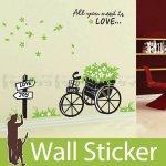 ウォールステッカー [花を積んだ3輪台車]-(wch-090)