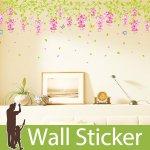 ウォールステッカー [藤の花とカラフルな蝶]-(wch-099)