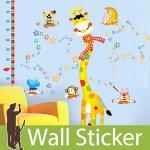 ウォールステッカー [身長計 キリンと動物たち]-(wch-101)